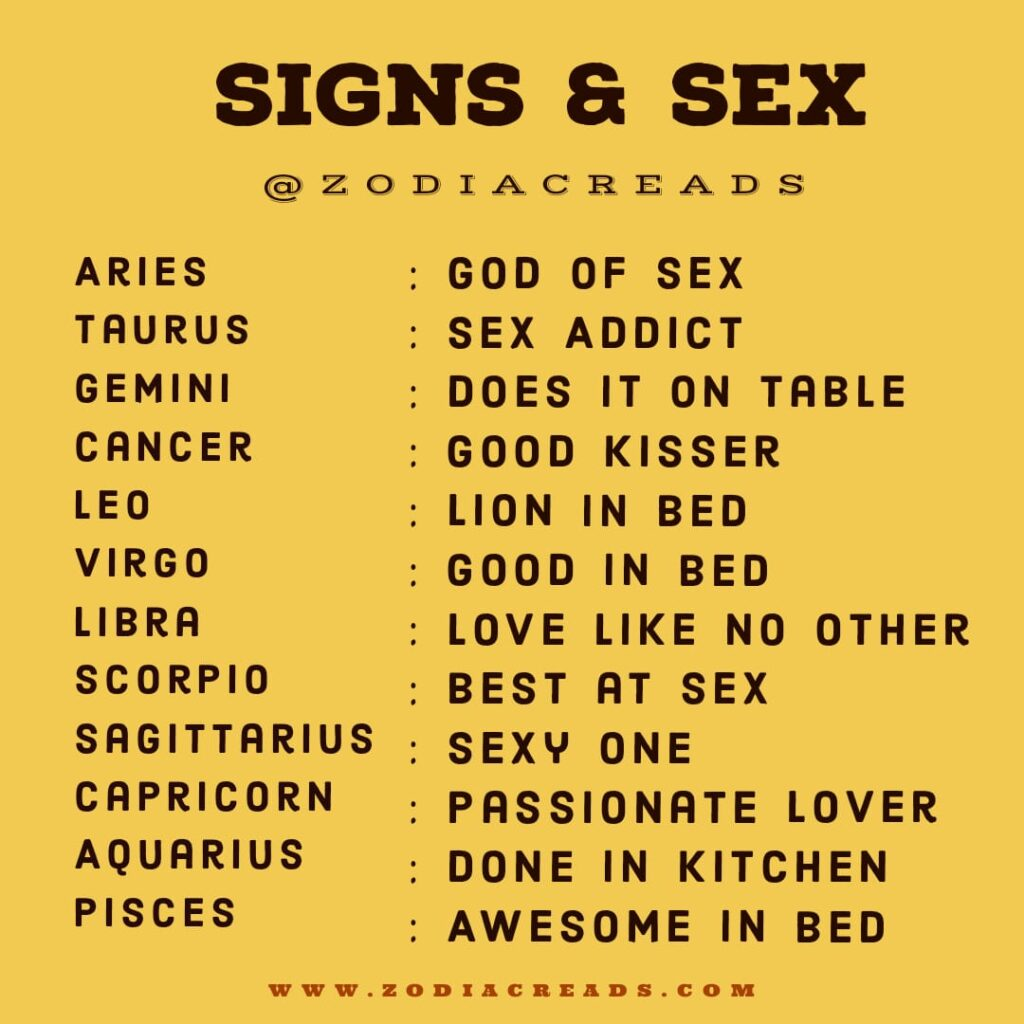Zodiac Sign and Sex