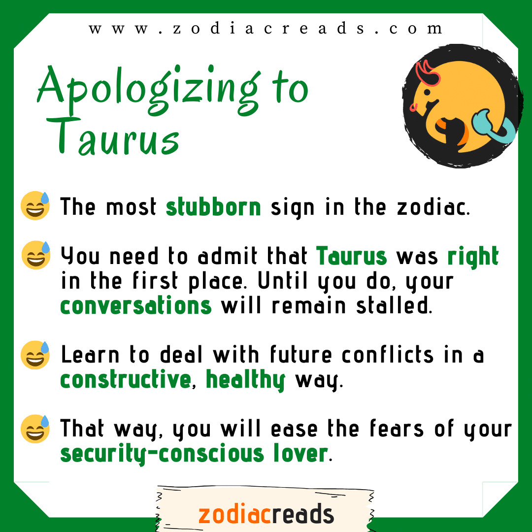 2 Taurus - Apologizing to Signs Zodiacreads