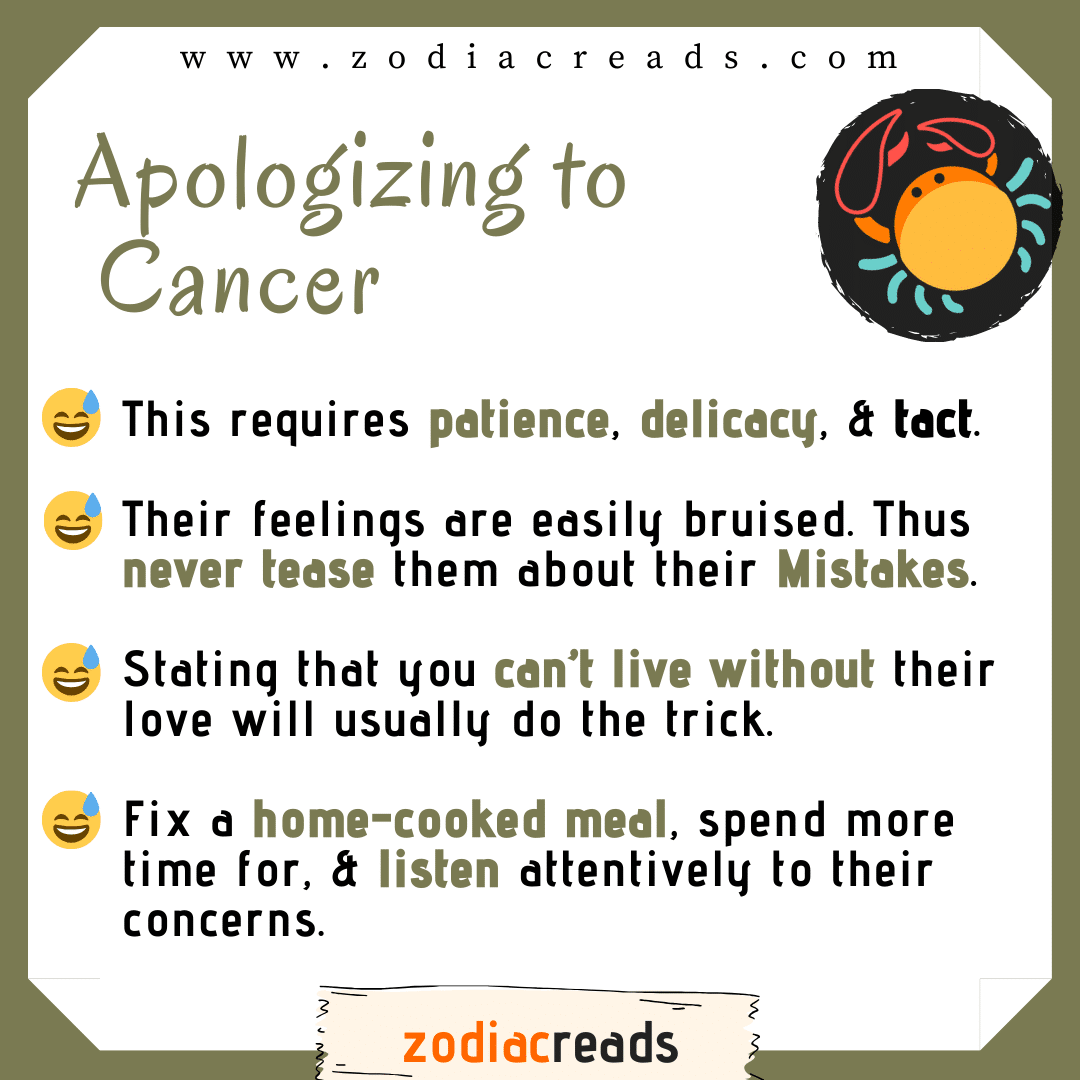 4 Cancer - Apologizing to Signs Zodiacreads